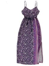 WOMENS PRINTED MAXI DRESS WITH TIE