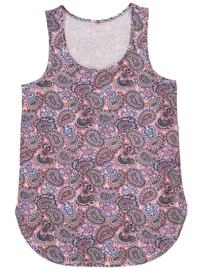 Allover Print Curve Hem Tank Womens