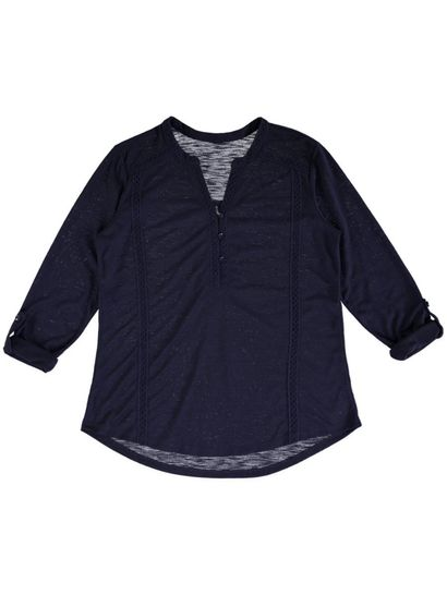 Lace Trim Henley Top Womens