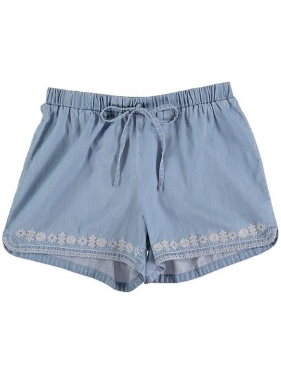 Womens Emb Tencel Short