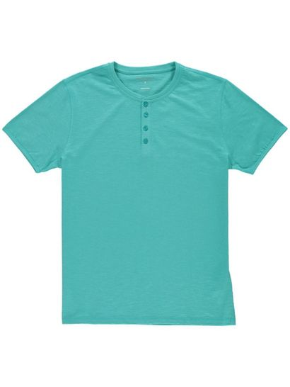 Mens Short Sleeve Fashion Tee Henley