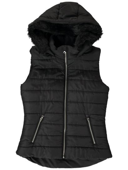 Plus Faux Fur Trim Puffa Vest