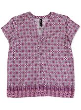 PLUS BORDER TILE PRINT WOVEN TEE WOMENS