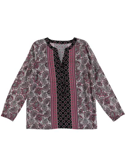 Allover Print Peasant Shirt Womens