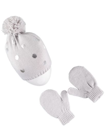 Girls Foil Spot Beanie & Glove Set