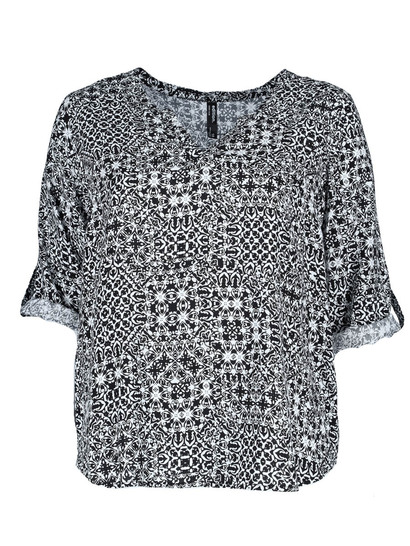 Plus Roll Sleeve Print Shirt Womens