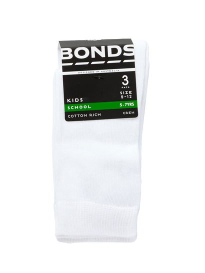 KIDS SOCKS 3PK PLAIN CREW BONDS