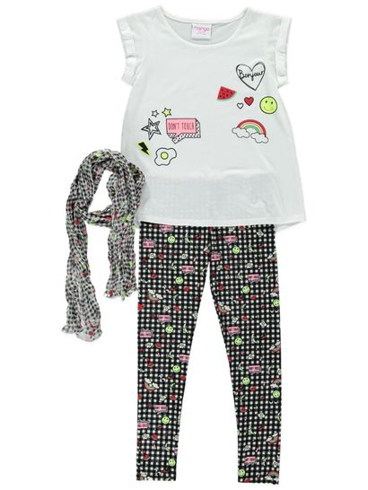 Girls Legging Scarf And T Shirt Set
