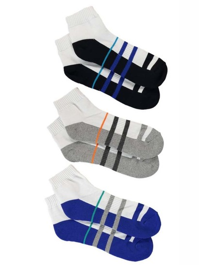 UNDERWORKS 3PK QUARTER CREW SOCKS