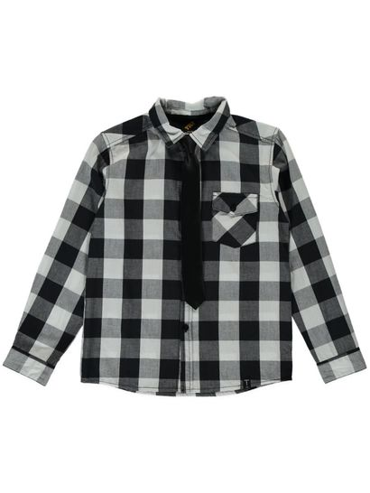 BOYS CHECK LS SHIRT WITH TIE