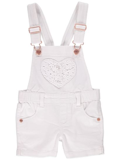 Toddler Girls White Shortall