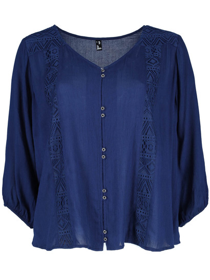 Plus Lace Panel Long Sleeve Top Womens