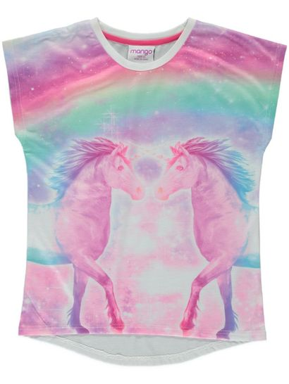 Girls Unicorn Print T Shirt