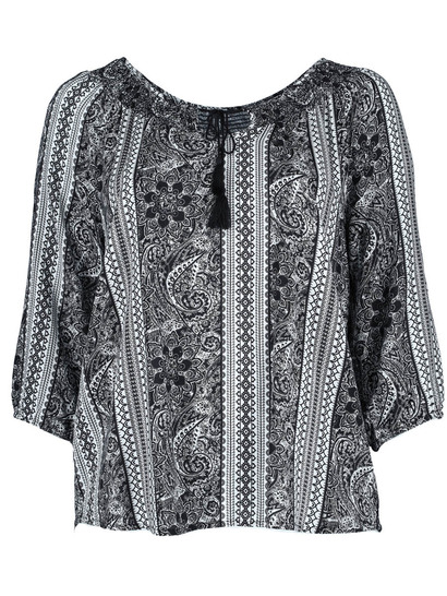 Plus Shirred Neck Gypsy Top Womens