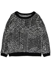 PLUS JAQUARD EYELASH YARN PULLOVER WOMENS