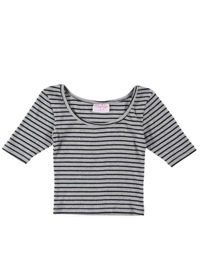 Girls Short Sleeve Stripe Rib Top