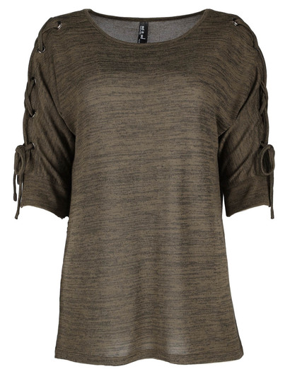 Plus Eyelet Laced 3/4 Sleeve Mock Knit Top Womens