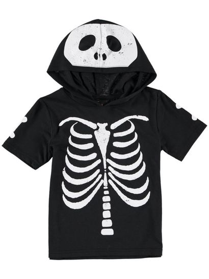 Boys Hooded Skeleton T-Shirt