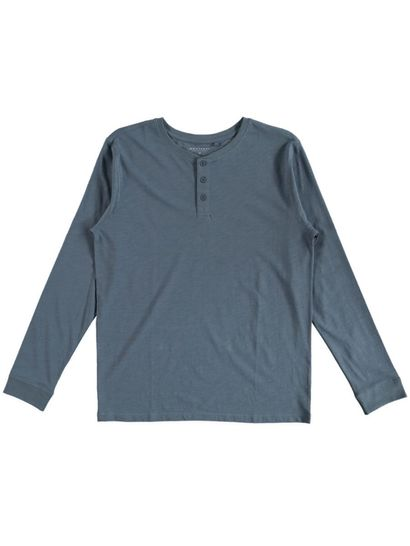 Mens Long Sleeve Slub Henley