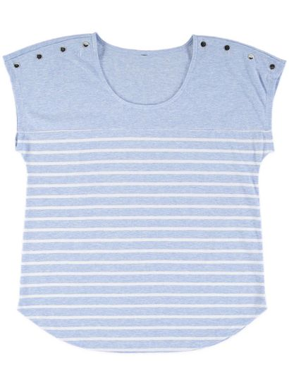 Plus Stud Shoulder Stripe Tee Womens