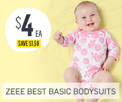 Baby Bodysuits 2 for $8 - save $1.50