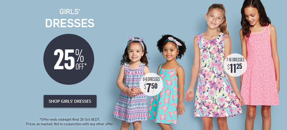 25% Off Girls Dresses