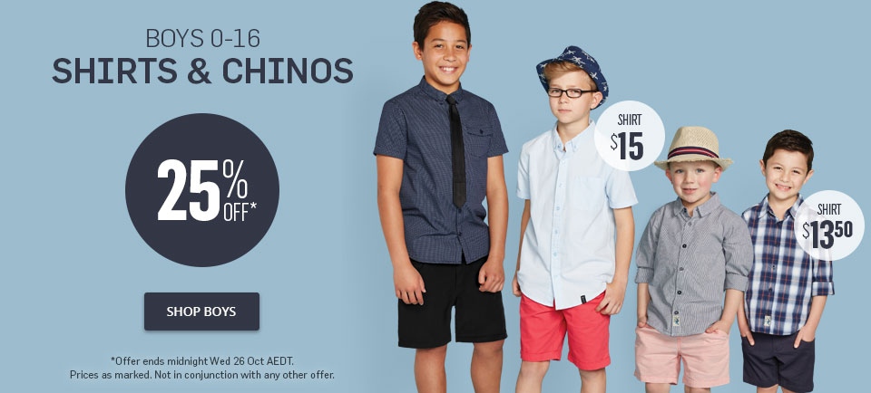 25% Off Selected Boys 0-16 Shirts & Chinos