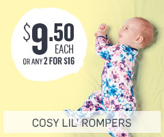 $9.50 Rompers now 2 for $16
