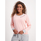 Womens Long Sleeve Knit Top With Waffle Trim