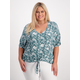 Womens Plus Button Through Knot Front Shirt