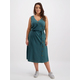 Womens Plus Linen Blend Button Detail Dress