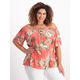 Womens Plus Button Through Off Shoulder Top