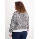 Womens Plus All-Over Print Sweater