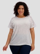 Womens Plus Crochet Lace Trim Tee