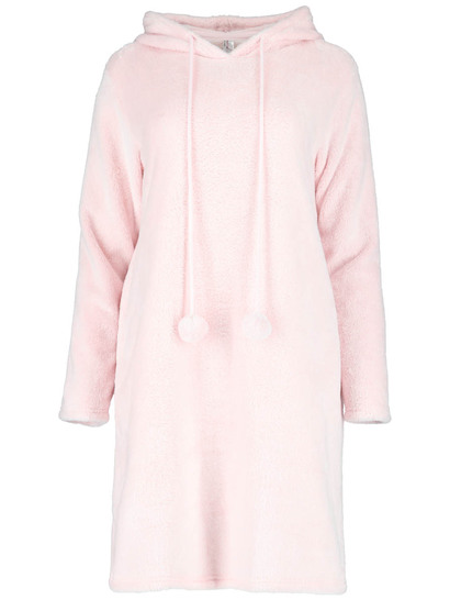 Plus Womens Fluffy Hooded Nite With Pom Poms