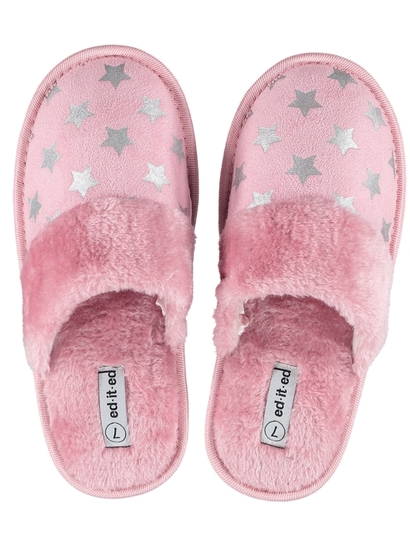 Women Foil Print Scuff Slippers
