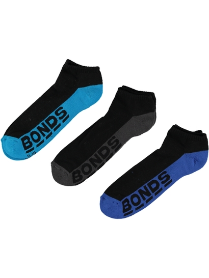 BONDS 3PK LOGO LOW CUT SOCKS