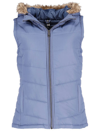 Blue Plus Fur Trim Hooded Gilet Womens