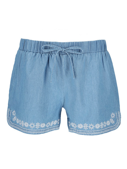 Womens Embroidery Chambray Short