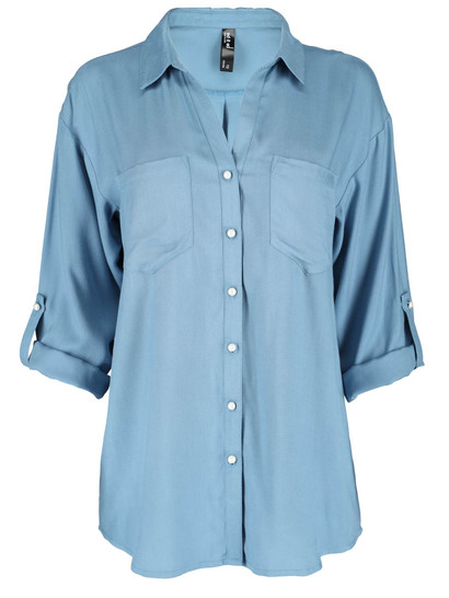 Plus Pearl Button Shirt Womens