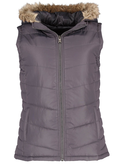Grey Plus Fur Trim Hooded Gilet Womens