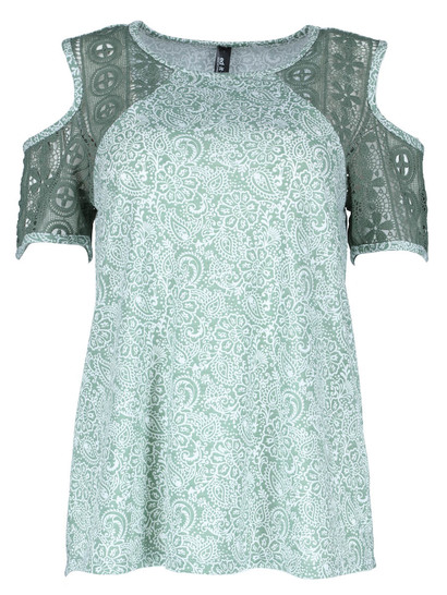 Plus Print Lace Sleeve Cold Shoulder Tee Womens