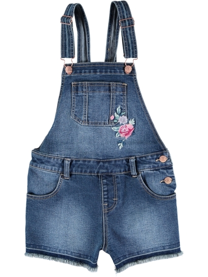 Girls Denim Short-All With Floral Embroidery