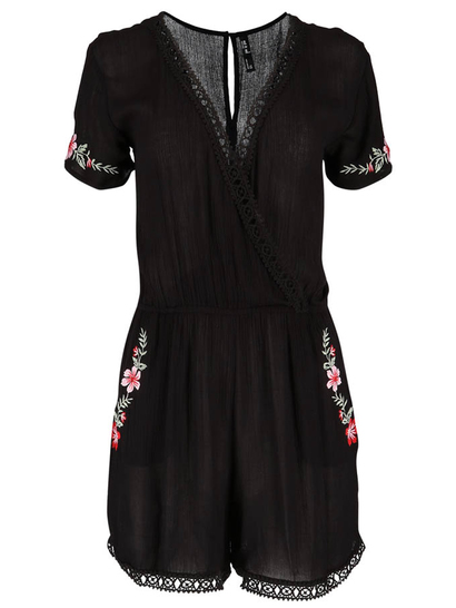 Womens Embroidered Jumpsuit