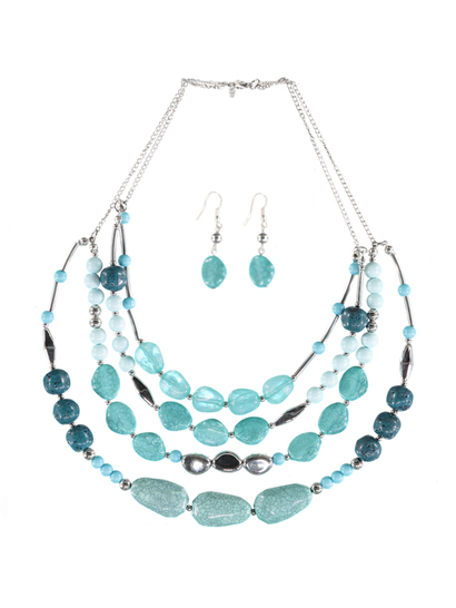 Women Multi Strand Necklace And Earring Set
