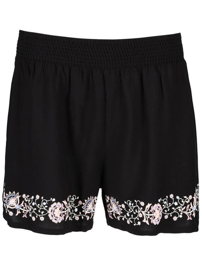 Womens Shirred Embroidery Hem Short