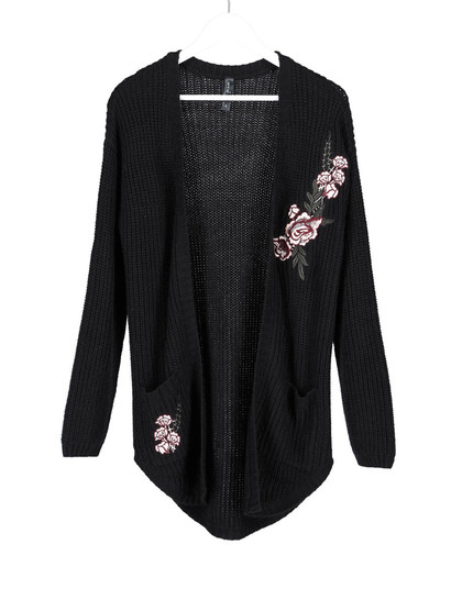 Plus Embroidered Cardi Womens