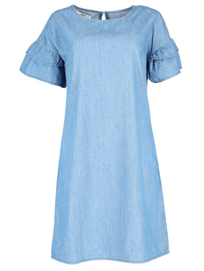 Womens Denim Ruffle Dress