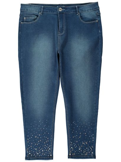 Womens Pearl Embellished Jean