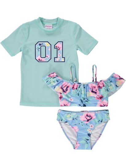 Girls Floral Swim Set